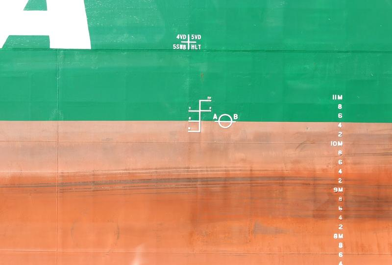 A Plimsoll Line on a large vessel docked at the Port of New Orleans on February 10.