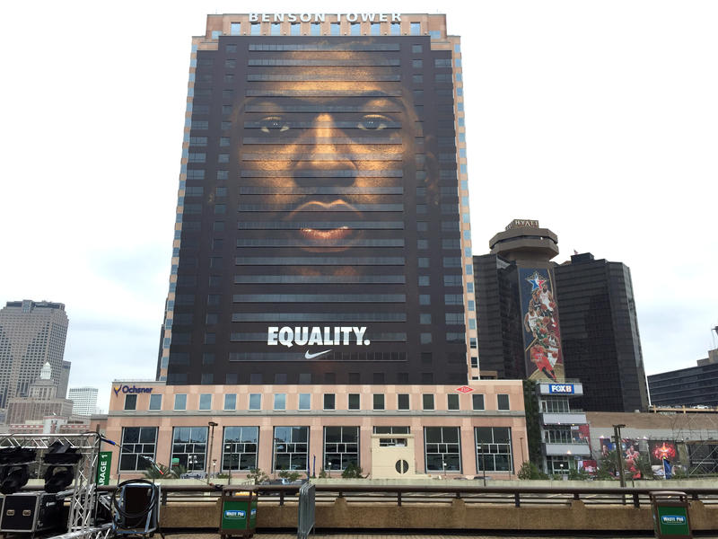 "An enormous image of Pelicans star Anthony Davis and the word ""equality"" faces the Superdome and the Smoothie King Center in advance of this weekend's NBA All-Star Game."