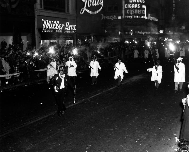 Krewe of Cynthius, 1948 Parade, Flambeau Carriers.