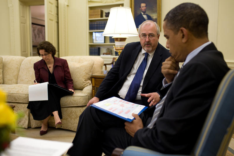 President Barack Obama meets with Federal Emergency Management Agency Administrator Craig Fugate and Cecilia Munoz, Director of Intergovernmental Affairs, in the Oval Office, May 11, 2010, to discuss tornado damage in Oklahoma.