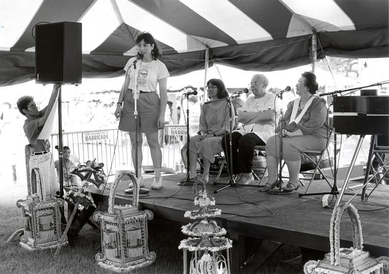 Allison Miner at the inaugural session on the Music Heritage Stage in 1988