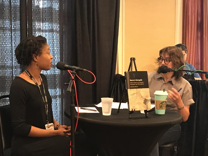 """Rashauna Johnson (left) and TriPod host Laine Kaplan-Levenson discuss Johnson's award winning book """"Slavery's Metropolis: Unfree Labor in New Orleans during the Age of Revolutions"""" at the 2017 Organization of American Historians Conference."""