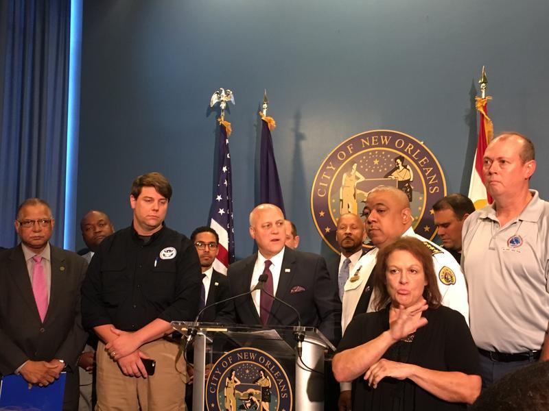 Mayor Mitch Landrieu addresses the media ahead of Tropical Storm Cindy.