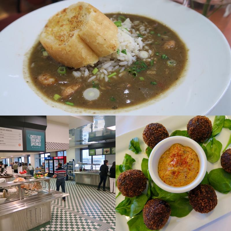 Scenes from New Orleans nonprofit cafes including the gumbo at Cafe Reconcile (top), boudin balls at Cafe Hope (right) and the new Liberty's Kitchen cafeteria in the CBD.