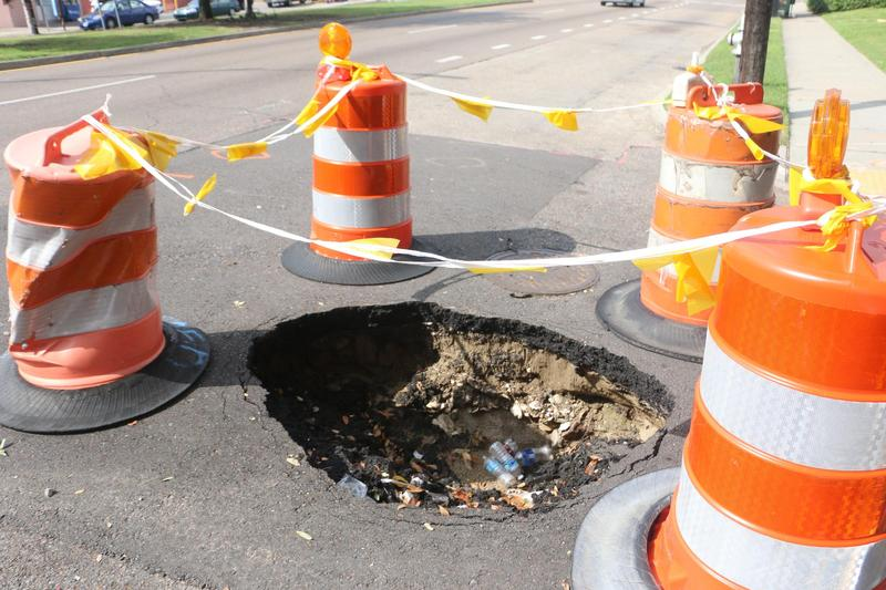 A sinkhole in Uptown New Orleans.