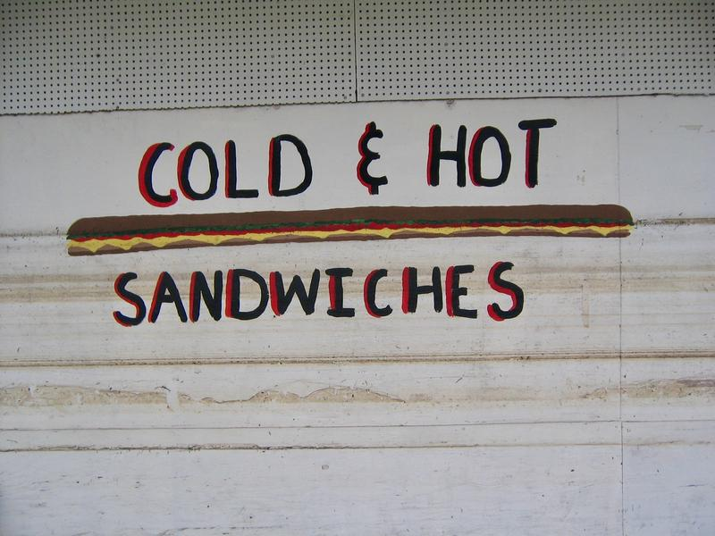 A flood line crosses a po-boy at a New Orleans sandwich shop in 2006.