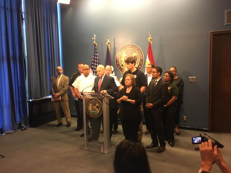 Mayor Mitch Landrieu and city officials give an update on Tropical Storm Harvey on Thursday morning in City Hall.