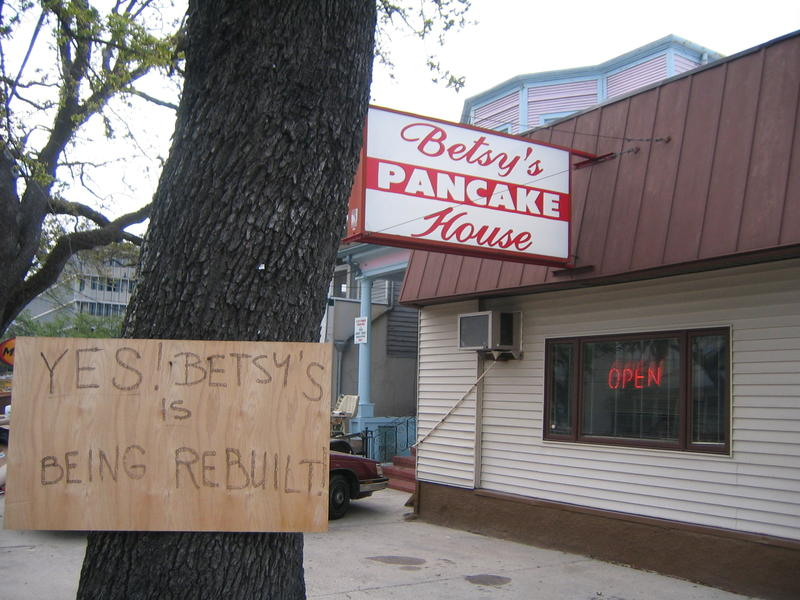 Betsy's Pancake House in New Orleans announcing its return to business after Hurricane Katrina in 2006.