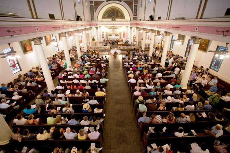 Sunday mass at St. Augustine Church.