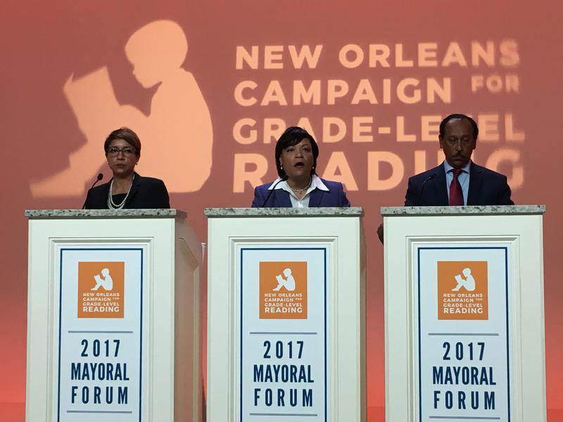 LaToya Cantrell (center) debating education fixes with opposing candidate Desiree Charbonnet (left) and former candidate Michael Bagneris (right) at WYES studios.