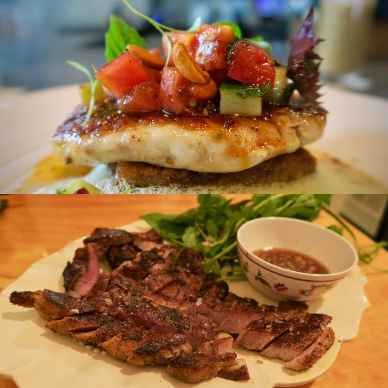 Red snapper from Maypop (top) and char-grilled pork steak with herbs from Marjie's Grill, two innovative new restaurants in New Orleans.