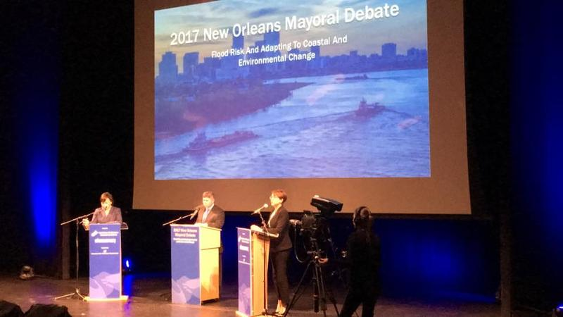 Mayoral candidates Latoyal Cantrell and Desiree Charbonnet talk coastal restoration and urban flooding at a debate on Oct. 25, 2017.