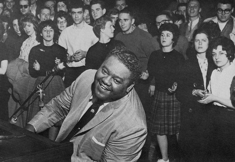 Fats Domino plays on the campus of Franklin & Marshall College in Lancaster, PA in February, 1962.