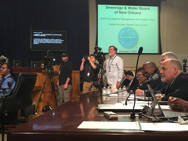 Paul Rainwater, who is a member of the Interim Management Team overseeing the New Orleans Sewerage and Water Board, answers questions at a City Council meeting on Tuesday, Nov. 7.