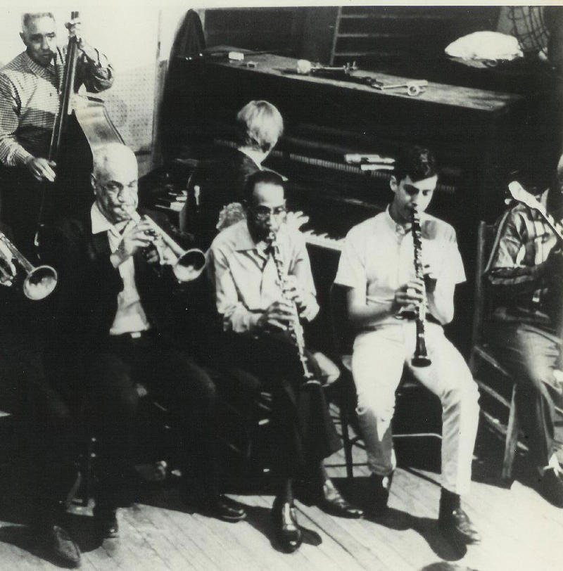 Jamming at Preservation Hall. l to r Slow Drag Pavageau, Dede Pierce, George Lewis, Tommy Sancton. 1966.