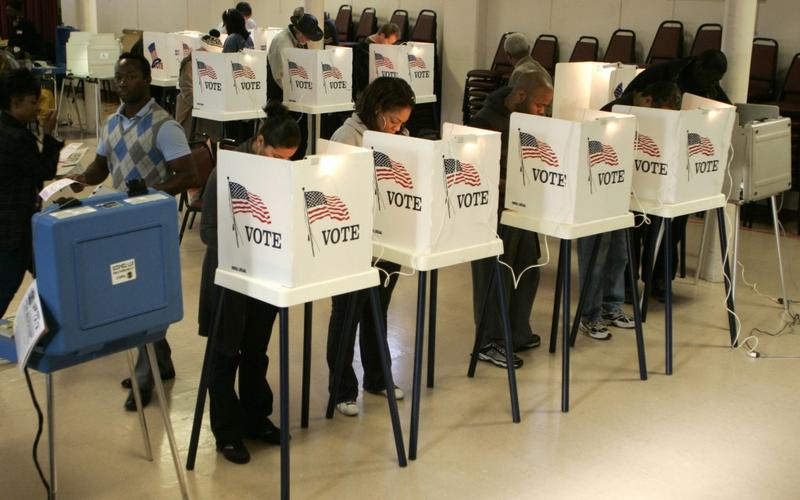 Voters turn out on election day.