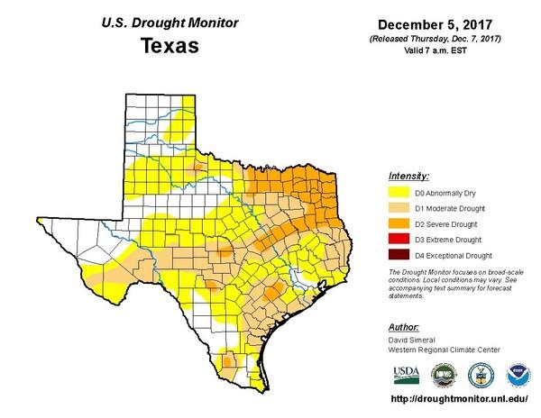 Texas experienced its 12th driest and 6th warmest October-November period on record this year, according to the National Oceanic and Atmospheric Administration.