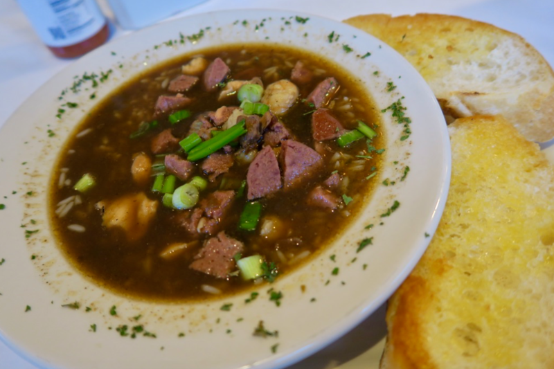 Creole gumbo from Cafe Dauphine in New Orleans. Gumbo in its many varities satisfies more than just a hunger in Louisiana.