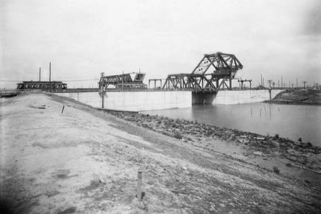 streetcar going over the Industrial Canal Bridge ca 1941  This is one of numerous archived photographs taken in the early years of the Inner Harbor Navigation Canal, known locally as the Industrial Canal. (photograph courtesy of the U.S. Army Corps of Eng