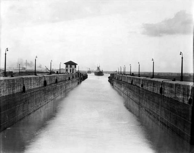 Ship Entering the Lock ca 1928  This is one of numerous archived photographs taken in the early years of the Inner Harbor Navigation Canal, known locally as the Industrial Canal. (photograph courtesy of the U.S. Army Corps of Engineers, New Orleans Distri