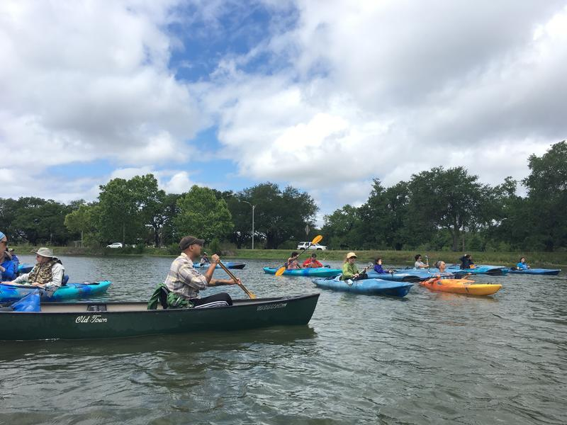 WWNO listeners paddle down Bayou St. John in April 2017.
