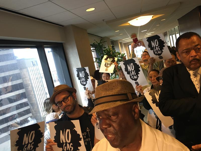 New Orleans resident Pat Bryant was among dozens who spoke out against the new power plant.