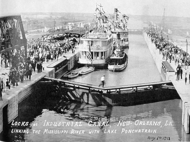 New Orleans: Dedication of the Locks of the Industrial Canal, May 1923 This is one of numerous archived photographs taken in the early years of the Inner Harbor Navigation Canal, known locally as the Industrial Canal. (photograph courtesy of the U.S. Army