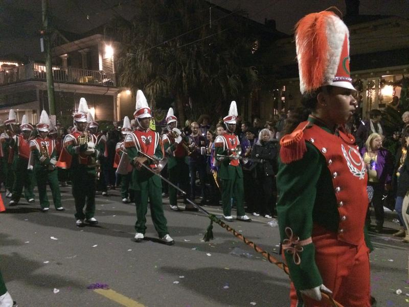 Carver senior and drum major Mytrell Allen leads the band during Muses.