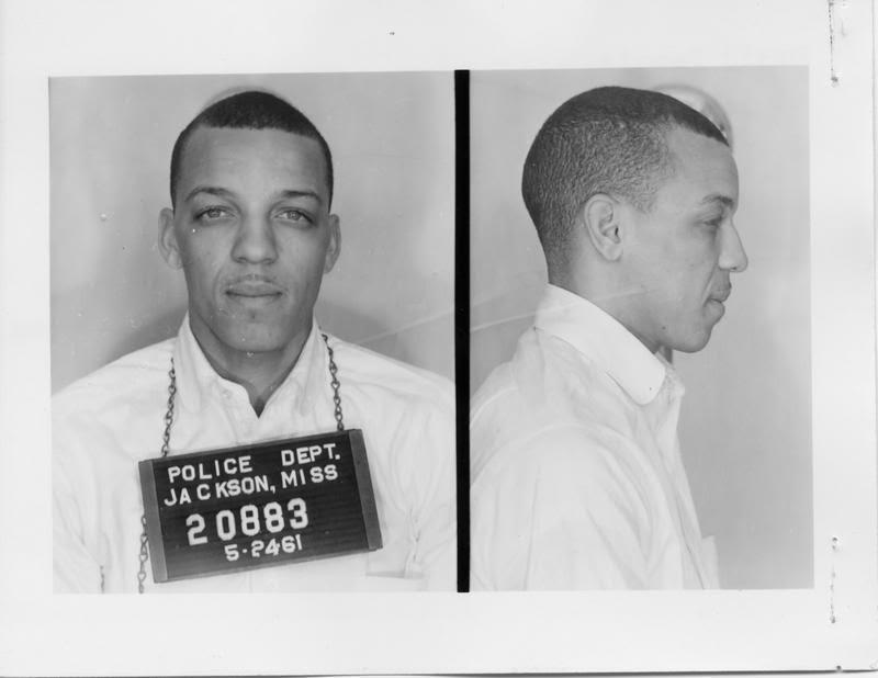 Dave Dennis's 1961 mugshot following his arrest for protesting against segregation.