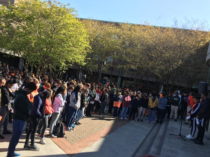 During a nationwide school walkout, Ben Franklin High School students held of moment of silence to remember the lives taken in the Parkland, Florida school shooting.
