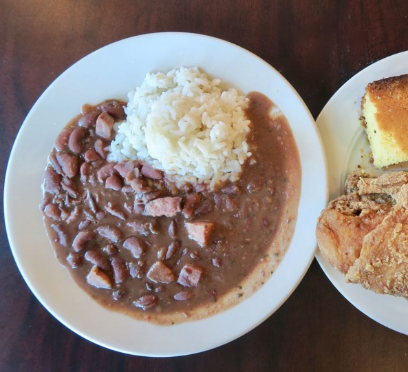 Red beans and rice at Dunbar's Creole Cuisine in New Orleans.