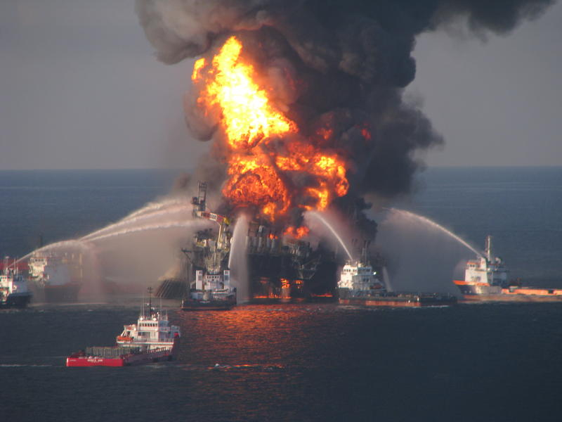 The Deepwater Horizon rig burns in the Gulf of Mexico in April 2010.