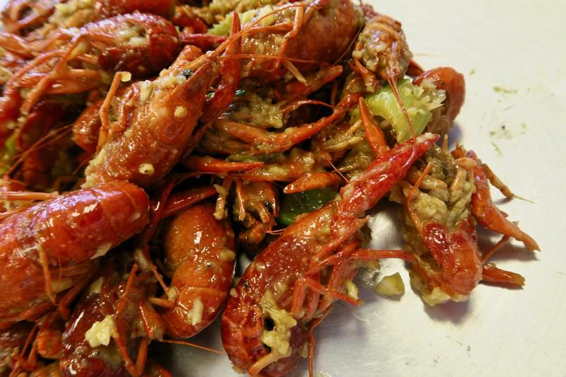 Crawfish coated with butter and garlic from Big EZ Seafood in Gretna.
