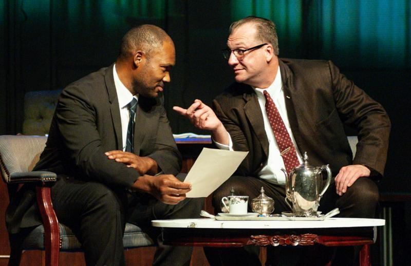 Actors Dominique McClellan (MLK) and Jason Kirkpatrick (LBJ) in Southern Rep Theatre's All The Way