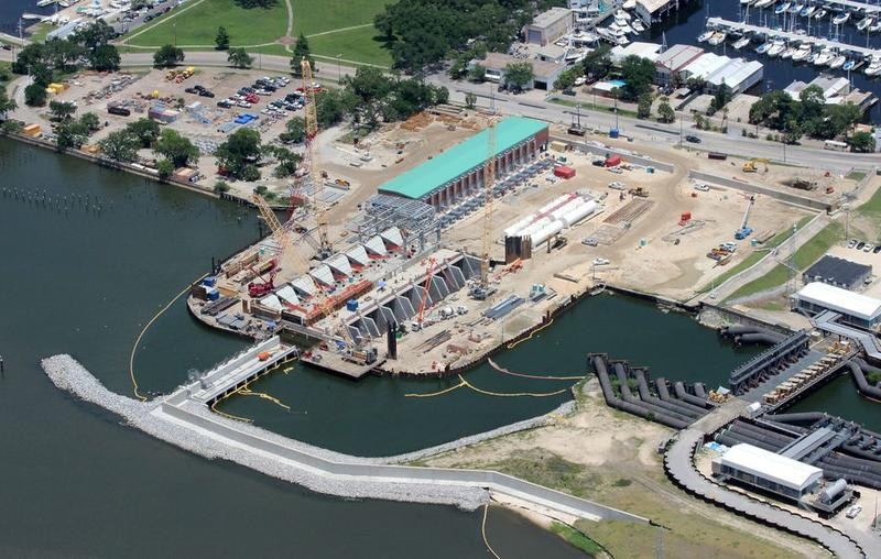 Aerial view of the permanent pump station and gates at the end of the 17th Street Canal on May 30, 2016, during construction.