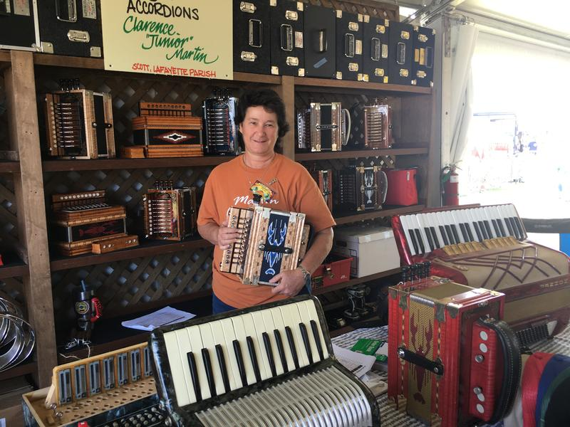 Accordion maker Pennye Huval owns and runs Martin's Cajun Accordions with her father in Lafayette Parish.