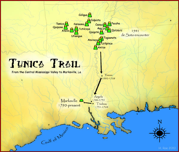 A map showing the route of the Tunica peoples from the Central en:Mississippi River Valley to Marksville, Louisiana.