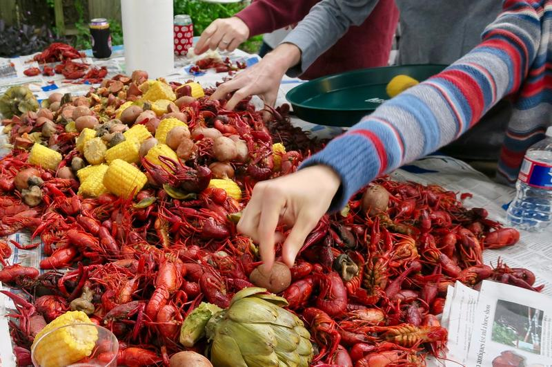 A Louisiana crawfish boil is a hands-on affair. Keep those cell phones in your pocket.