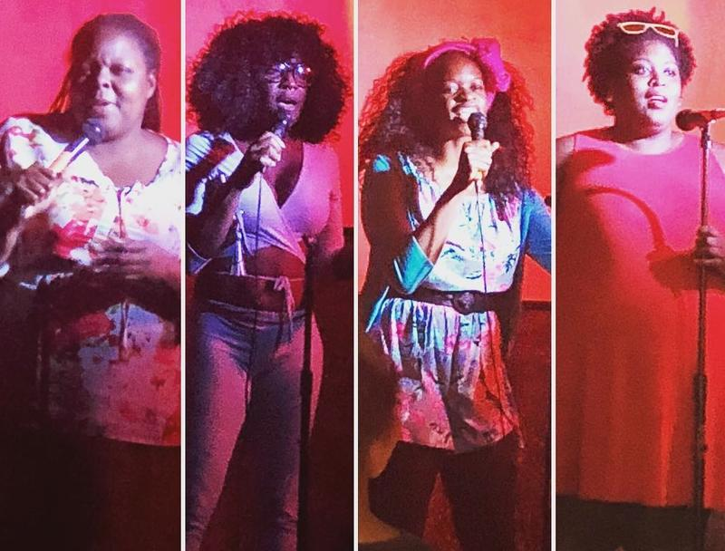 Scenes from a Black Girl Giggles open mic night.