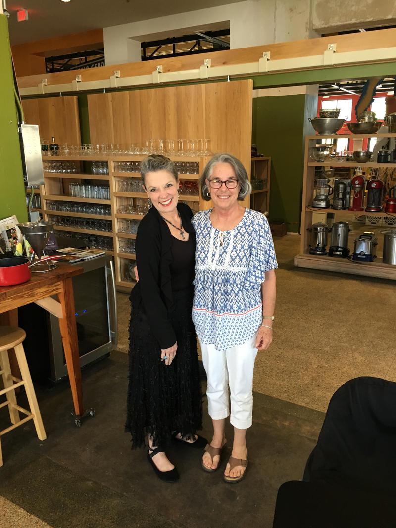 Host Poppy Tooker with Phyllis Jordan of PJ's Coffee