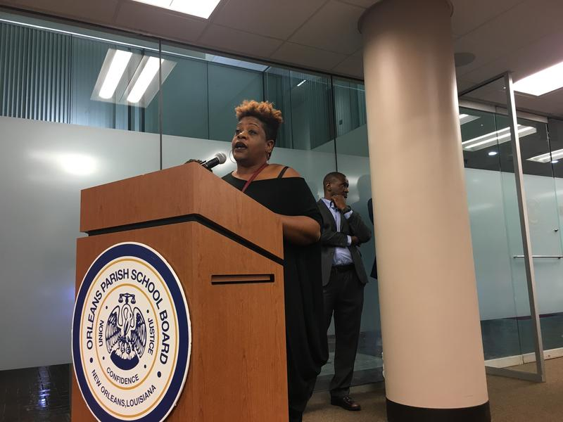 Lafayette Academy parent Tuere Jones expressed frustration with the school's handling of the asbestos problem.