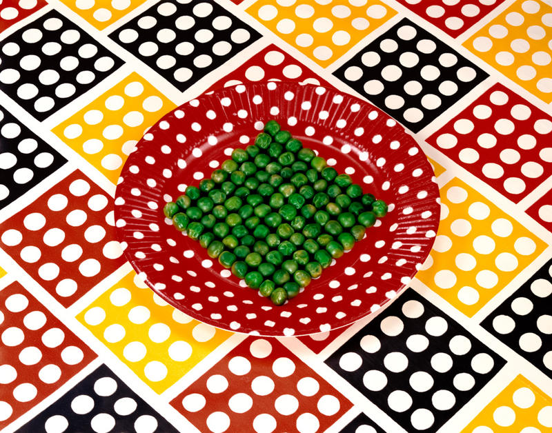 """Peas on a Plate"" by Sandy Skoglund currently on display in the Louisiana Art & Science Museum's ""Feast for the Eyes"" exhibit."