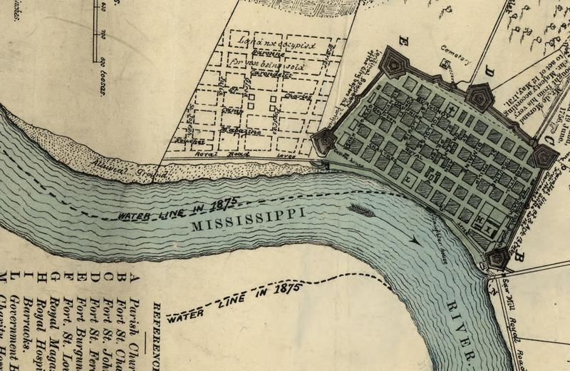 This 1798 map, annotated in 1975, shows how much the river had shifted in the intervening years. Note the alluvial ground