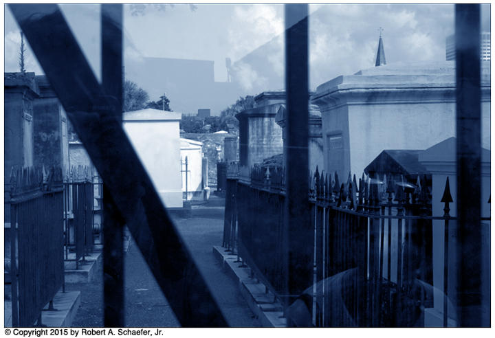 A cyanotype of St. Louis Cemetery No. 2