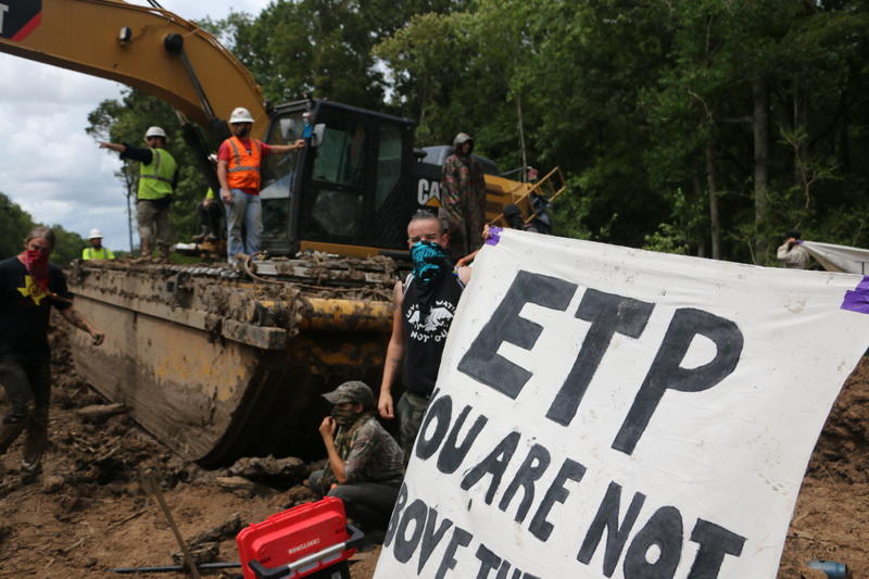 Protesters disrupt construction of the Bayou Bridge pipeline through the Atchafalaya Basin on September 3, 2018. The pipeline is facing a lawsuit from landowners who object to construction on their property.