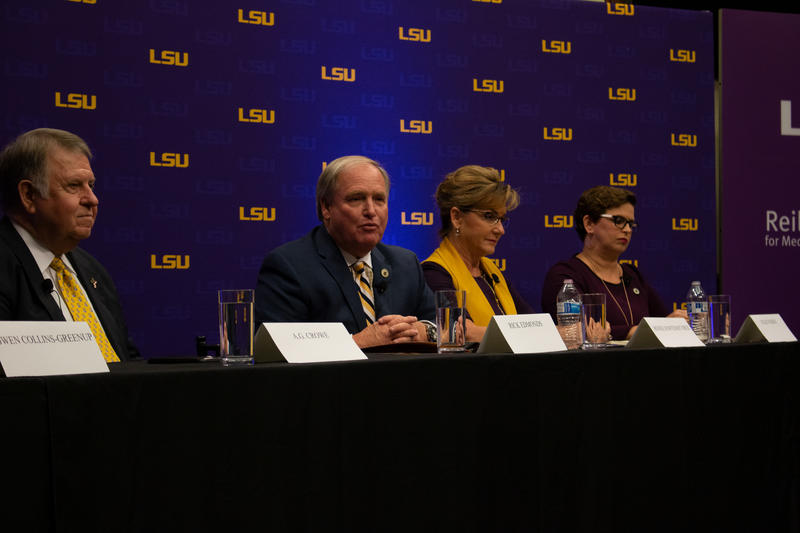Four of the six Secretary of State candidates who spoke at Monday's forum were (l-r) former State Sen. A.G. Crowe; State Rep. Rick Edmonds; Renée Fontenot Free, who served as a top aide to two former secretaries of state; and Rep. Julie Stokes.