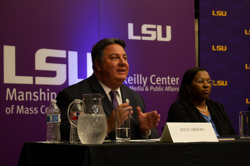 Interim Secretary of State Kyle Ardoin and Gwen Collins-Greenup spoke at the candidate forum at LSU.