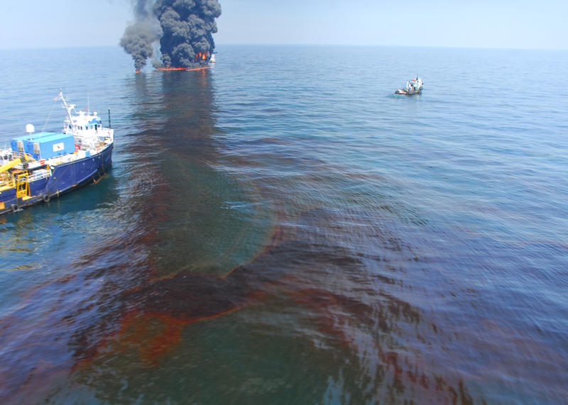 A controled burn of oil in the aftermath of the BP oil spill. Another way responders managed the spill was by using chemical dispersants. A new study questions the efficacy of those dispersants.