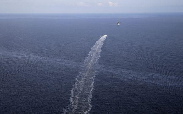 An oily sheen is visible near the site of the Taylor Energy platform -- which has been slowly leaking since being damaged during Hurrican Ivan in 2004