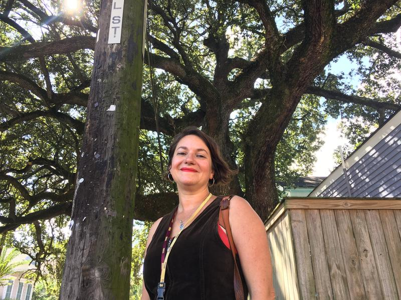 Former Bywater resident Andy Young visits her old block. Young says she was forced to move from her neighborhood after her property taxes tripled.